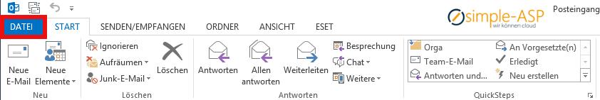 In Outlook Email Konto hinzufuegen