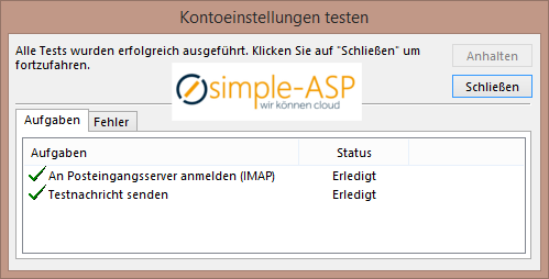 Outlook Kontoeinstellungen testen