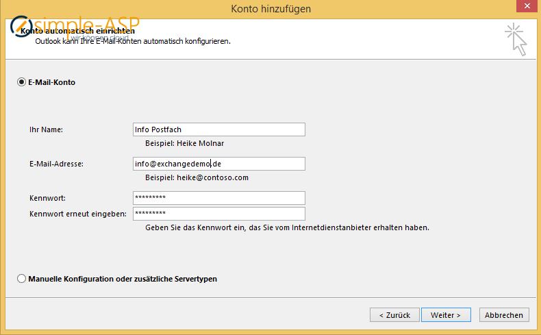 Outlook Konto automatisch einrichten
