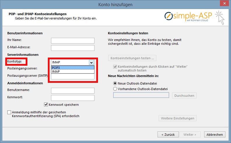 In Outlook Kontotyp auswählen