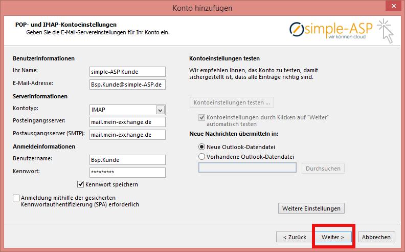 Outlook Konto hinzufuegen letzter Schritt