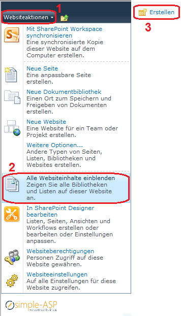 SimpleASP_Knowledebase_Hosted_SharePoint2010_Websiteaktionen