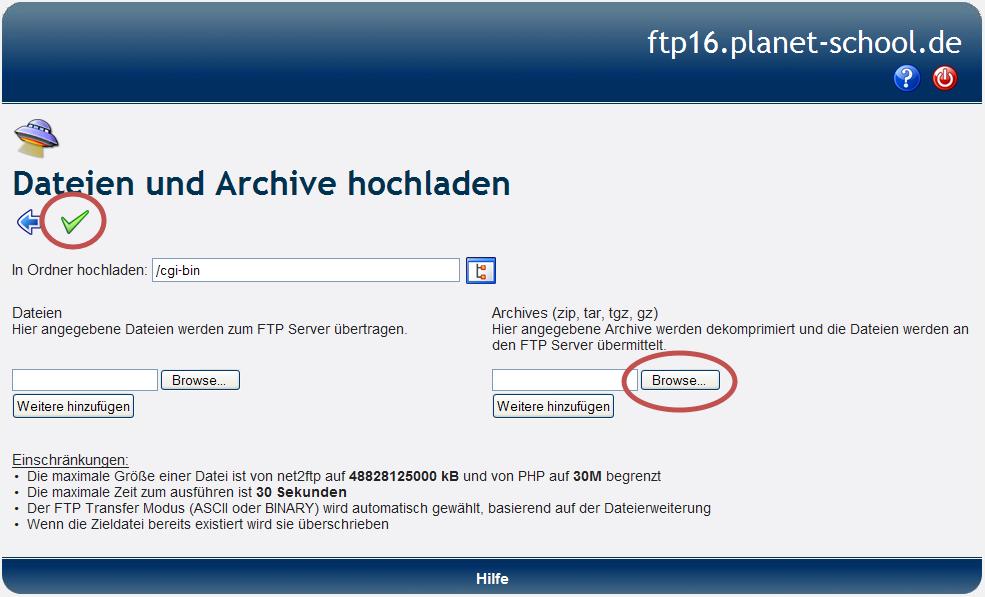 Datein-Website, die