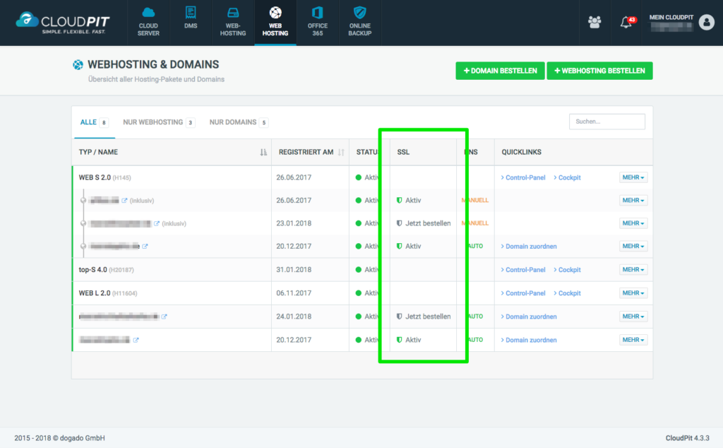 Übersicht Webhosting in CloudPit verwalten - dogado Knowledgebase